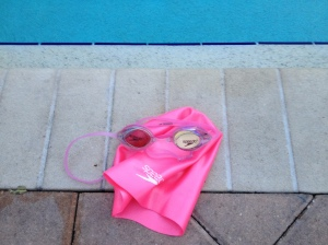 Decided to go all girly; bought the pink. Here they are pool side the next morning, circa 6 am