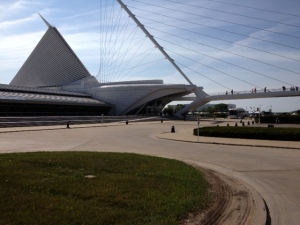 We both bike and run right past the Milwaukee Art Museum, which is a piece of art in an of itself.